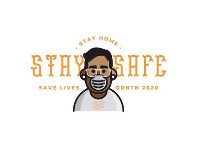Stay Home, Stay Safe, Save Lives facemask quarantine covid19 stay home typography design branding vector badge illustration custom type logo design logotype logo
