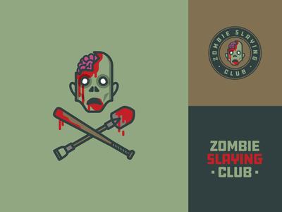 Zombie Slaying Clube logodesign retro design retro logo retro font retro badge design badgedesign badge logo zombies zombie badge design illustration horror halloween custom type logo design vector logotype logo