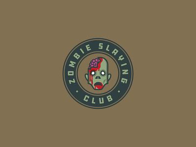 Zombie Slaying Club   Badge club brains badge design badge logo badge the walking dead zombies zombie vector illustration logo design logo halloween