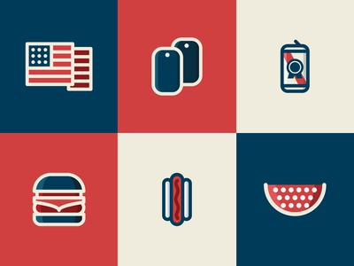 Memorial Day Icons flat vector illustration vector art pbr military watermelon bbq grill beer fourth of july american america memorial day iconography icon set icons icon design illustration vector