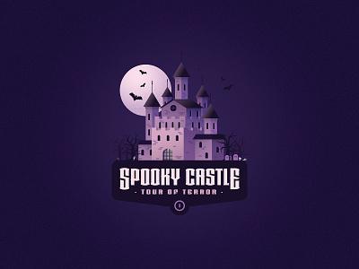 Tour of Terror   Spooky Castle Illustration creepy halloween october bats skeleton graveyard ghosts haunted castle spooky logodesign logo badgedesign badge vector illustration tour of terror tourofterror