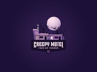 Tour of Terror   Creepy Motel vintage tour of terror spooky sign retro october neon sign neon motel sign logo illustraion motel hotel halloween creepy bates motel badge design badge axe