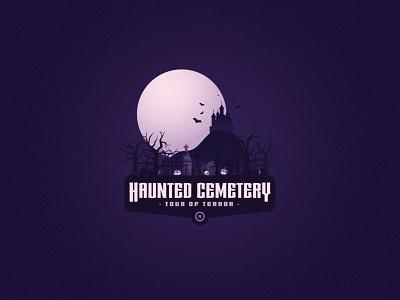 Tour of Terror   Haunted Cemetery design october gravestone grave spooky tour of terror pumpkin jackolantern skull haunted cemetery graveyard horror vector illustration badge halloween logo