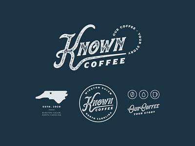 Known Coffee   Brand Identity coffee shop coffee retro custom type badge design badge iconset icons icon branding customtype typography design logotype logo design logo