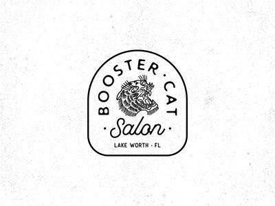 Booster Cat Salon Logo retro design retro badge vintage badge vintage logo vintage branding badge design badge grainy vector texture logotype retro logo design logo