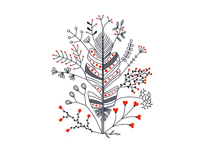 Feather nature flowers feather design illustration vector