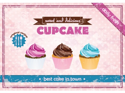 Cupcake poster cupcake retro poster food sweet vector illustration