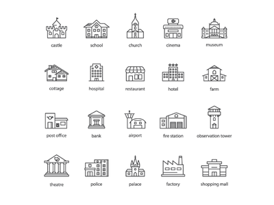 Touristic icons building map illustration vector icon tourist touristic