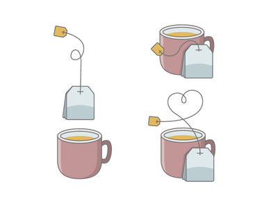 Cup of Tea teabag bag beverage illustration vector drink tea cup