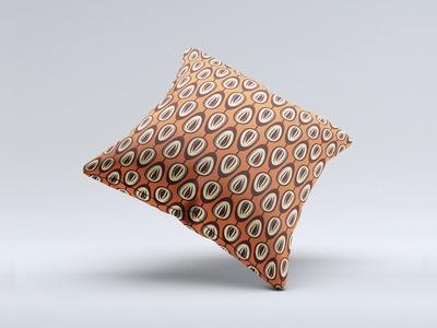 Pillow mockup with my pattern brown orange illustration vector retro modern seamless pillow pattern
