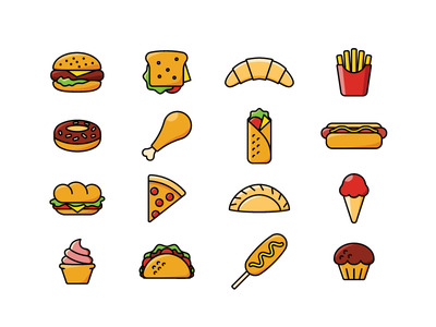 Fast food icons pizza hot dog donut french fries croissant sandwich hamburger illustration vector icon fast food
