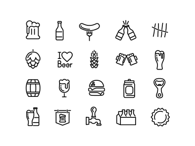 Beer icons collection set illustration vector icon drink beverage food alcohol beer