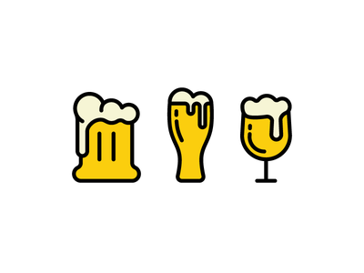 Beers vector set icon.  illustration drink collection beverage beer alcohol