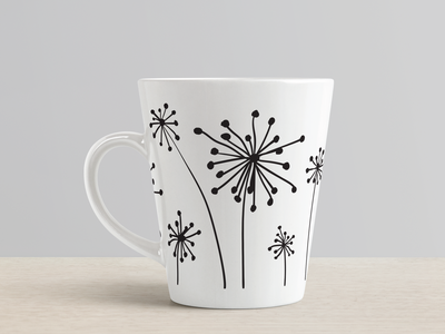 mug with dandelion print vector print abstract nature illustration dandelion design mug