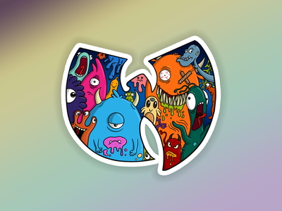 wu monster holograph aliens colourful illustration monsters stickermule wu tang