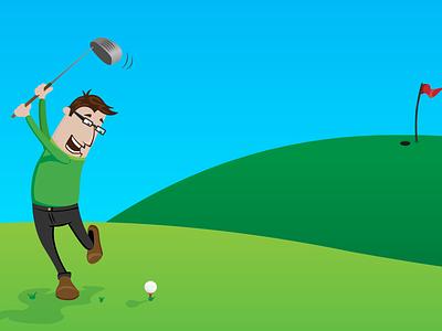 Golfing golf sport vector illustration outdoor lifestyle family cartoon man blue green funny
