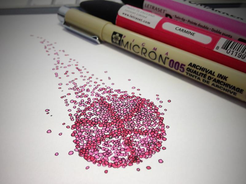 Dribbble Pixels dribbble logo illustration quick sketch markers icon pixels spots dots particles