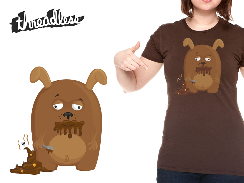 Dogs Love Poop - Threadless t-shirt dog cute funny gross vector illustration cartoon