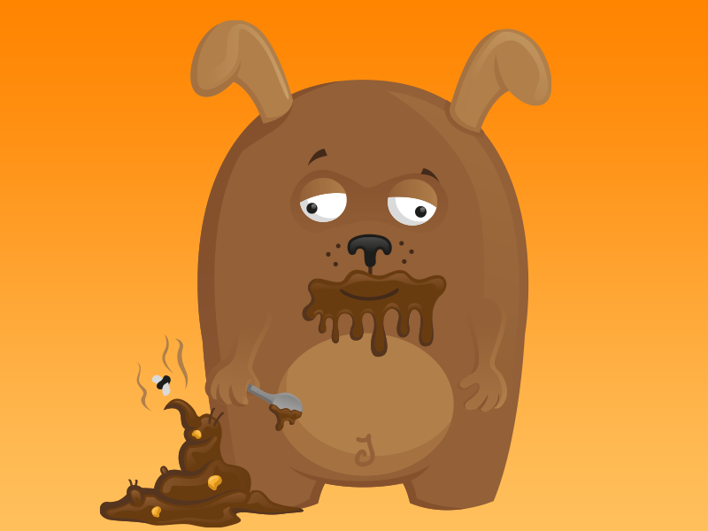 Dogs Love Poop dog poop brown gross line giphy orange funny cartoon