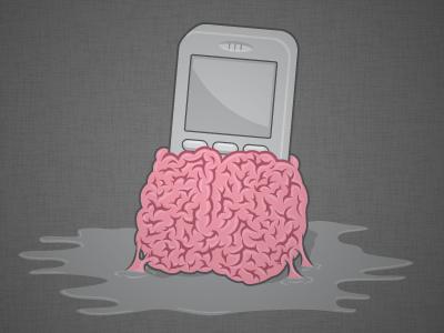 Smartphone Braaains! smartphone illustration vector pink brain braaains