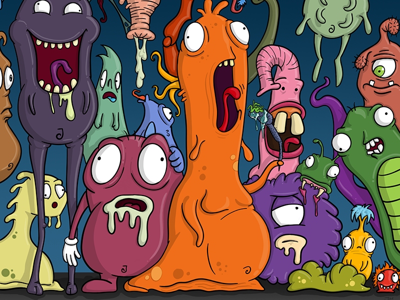Various Monsters strange weird zany mutants aliens doodle creatures illustration monsters monster