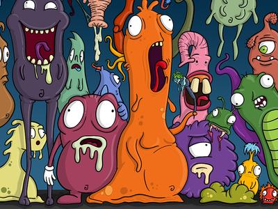 Various Monsters strange weird zany mutants aliens doodle creatures illustration monsters monster