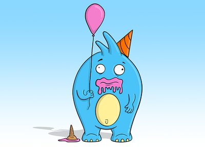 Birthday Monster ice cream balloon party birthday strange weird zany doodle creatures illustration monsters monster