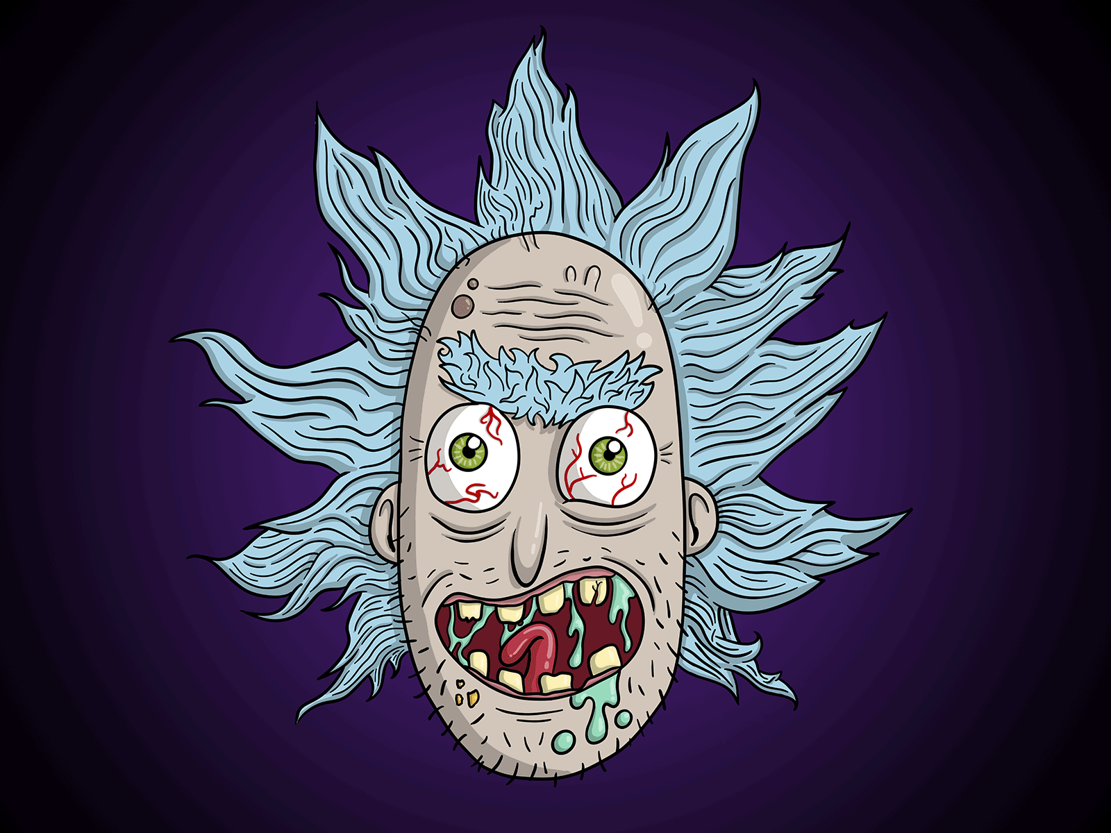 Fractal Dust Rick merchandise gross fan art rick sanchez funny cool cartoon illustration fanart rick and morty