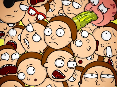 A whole lot of Morty's characters character ipad art illustrator doodle cartoon art cartoonnetwork adultswim morty smith rick and morty illustration cartoon
