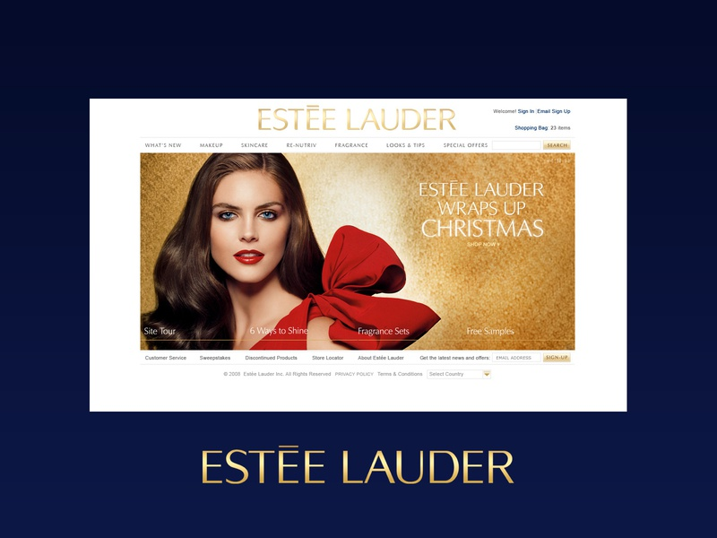 Estée Lauder Christmas Homepage Design cosmetics luxury brand luxury design homepage design graphic design web design