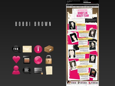 Bobbi Brown Team Page and Custom Icon Set luxury branding illustration cosmetics luxury brand icons set icon ui  ux graphics design graphics icons