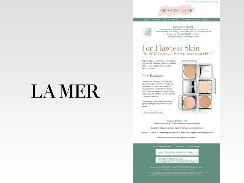 La Mer Email Design cosmetics luxury brand la mer design digital design web design graphic design email design