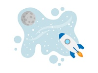 Rocket To The Moon Illustration for Business Cover Expert