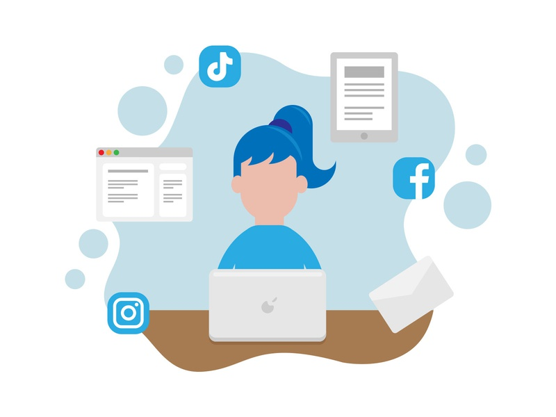 Laptop Marketeer Illustration for Business Cover Expert marketing agency business concepts blue pastels platforms social media illustration business marketing