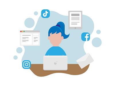 Laptop Marketeer Illustration for Business Cover Expert marketing agency business concepts blue pastels platforms social media illustration business marketing