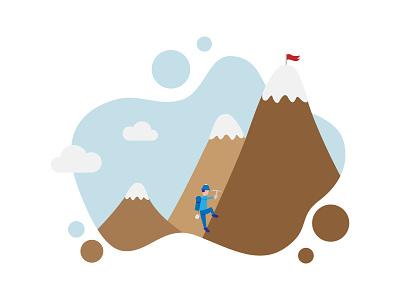 Long Term Goals Illustration for Business Cover Expert people brown blue pastels landscape landscapes mountains vector business illustration