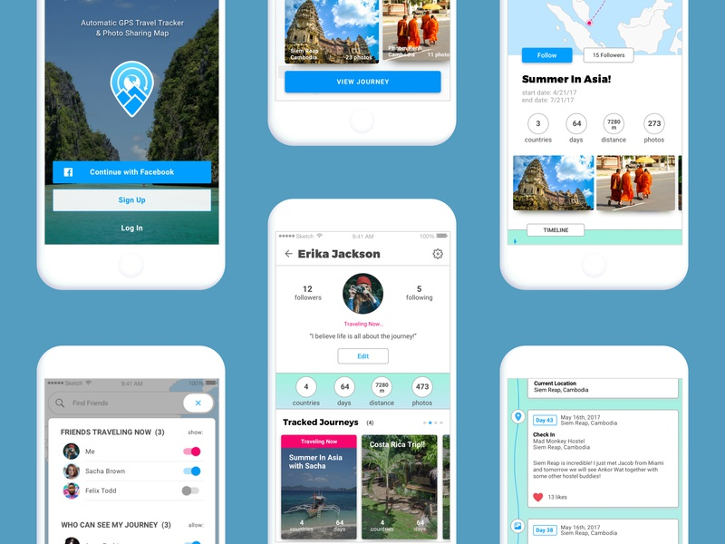Journey Driven Screens travel tracker app ux  ui travel tracker travel journal travel blog travel app solo travel app offline travel tracker offline gps mobile travel app map app journey driven gps tracker app gps tracker backpacker app