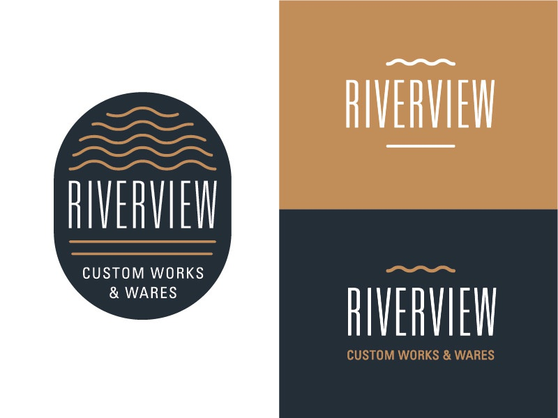Riverview Logo Concept river craftsmanship stamp typography type branding brand logotype logo
