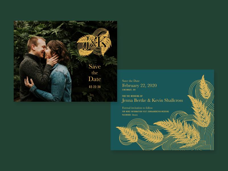 Fern Wedding - Save the Dates typography vector design graphic design illustration illustrator logo layout design layout plant illustration plants fern custom illustration wedding invite wedding save the date