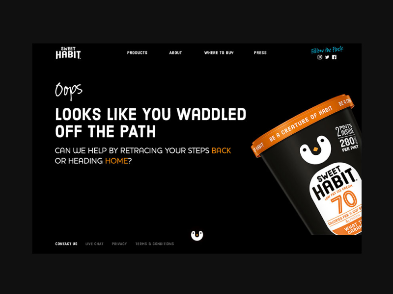 Sweet Habit Website - Error Page layout page design page layout website design dessert visual design 404 page error message error 404 error page web design website brand ice cream food and drink consumer goods graphic design food