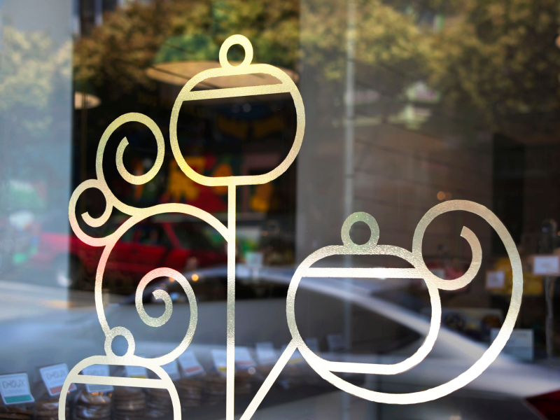 Choux Bakery Window Detail san francisco gold foil gold decal window display window logo bakery french identity design identity branding design consumer goods food and drink graphic design food dessert brand