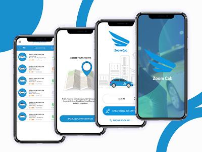 Zoom Cabs Concept App Design mobile app design uxdesign uxui mobile app mobile ui ux ui graphic design crazee adil