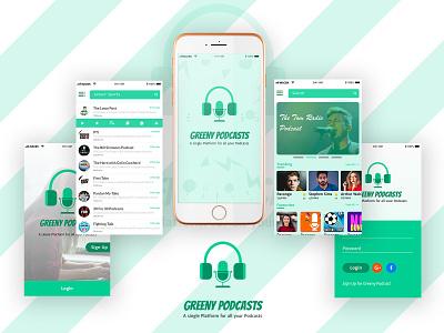 Greeny Podcasts Mobile App Concept mobileappdesign uxdesign mobileapp crazeeadil branding ux graphic design crazee adil