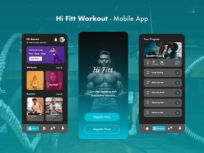 Hi Fitt Workout - Mobile App mobileapp uidesign branding illustration logo design graphic design mohamed adil crazee adil
