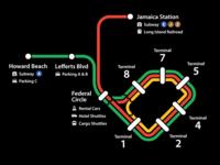 Full AirTrain map signage wayfinding airport new york city transportation map design