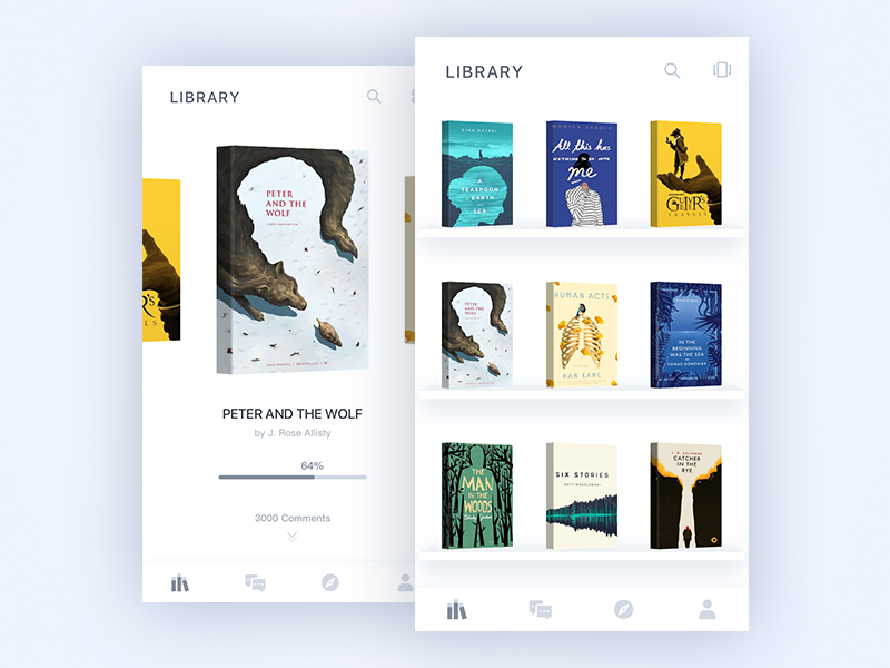 Library illustration interface app ux clean page ui