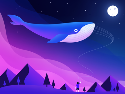 Whaleinthesky imagination red flat illustration night whale