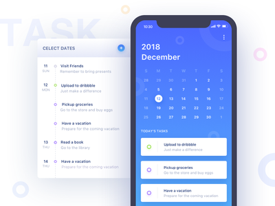 Everyday Task blue page calendar clean ui interface app