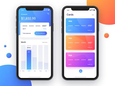 Myaccount ux app clean blue screens cards interface ui