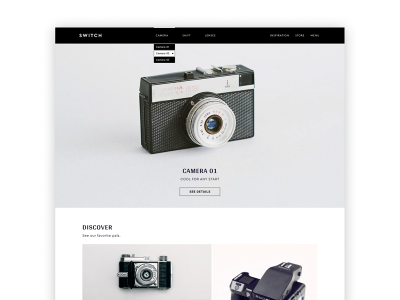 Home Page | Camera Shop visual design e-commerce shop webdesign